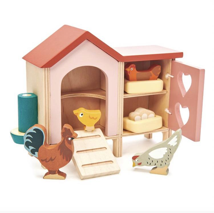 wooden chicken coop kids toy